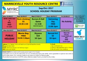 MYRC School Holiday Program Flyer Sep_Oct 2017